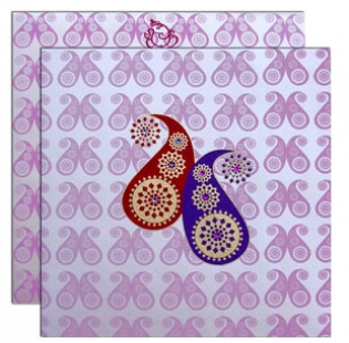 light pink with red blue - Hindu Wedding Invitations