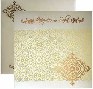 Cream Square Card With Golden Printing