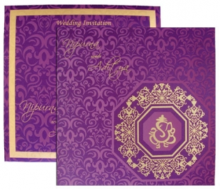 Purple Card With Gold Print
