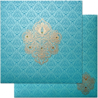 Sea Blue Card with Gold Print