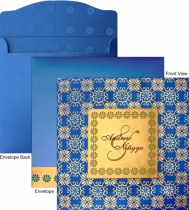 Square Blue Card With Gold Print
