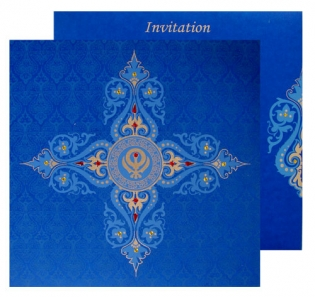 Blue Card With Gold Design