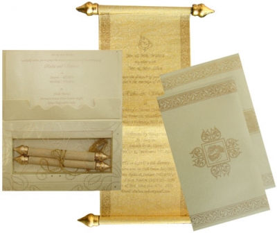 Cream Color With Gold Print Card